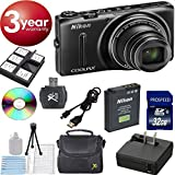 New Nikon COOLPIX S9500 Wi-Fi Digital Camera with 22x Zoom and GPS - Black Special Christmas Bundle (In White Box, Not Retail Packaging) + 32GB High Speed Memory Card + Deluxe Card Reader + Digideals Starter Kit