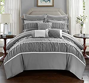 Chic Home 10 Piece Cheryl Pleated & Ruffled Bed In A Bag Comforter Set with Sheet Set, King, Grey
