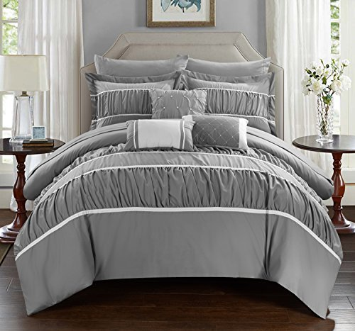 Chic Home CS2125-AN Cheryl 10 Piece Comforter Set Complete Bed in a Bag Pleated Ruched Ruffled Bedding with Sheet Set, Grey, Queen