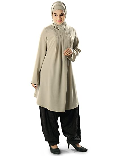 c866b16d76a MyBatua Women's Stylish and Elegant Islamic Samira Tunic in Warm Grey  (X-Small)