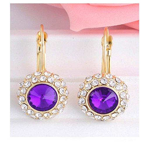 [Darkey Wang Women's Fashion Qualities Circular Temperament Crystal Deep Purple Diamond] (Coast Guard Costumes For Kids)