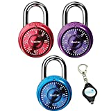 Master Lock 1533TRI Padlock, Mini Dial Combination Lock, 1-9/16 in. Wide, Color Assortment Pack,(Pack of 3) Bundle with Lumintrail Keychain Light