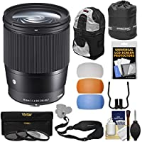 Sigma 16mm f/1.4 Contemporary DC DN Lens with 3 UV/CPL/ND8 Filters + Backpack + Lens Pouch + Strap + Pop-up Flash Diffusers + Kit for Olympus / Panasonic Micro 4/3 Cameras