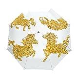 WIHVE Gold Unicorn Horse Star Umbrella Auto Open Close Windproof Compact