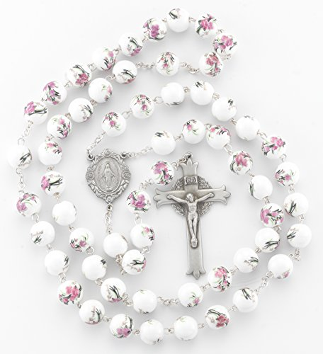 (3 5/18) BERTOF BT-PR-108 Pewter Rosary White/Pink Glass Flower Beads Beads WITH 100% Pewter Center and Crucifix Hand Made USA Copyrighted Paul Herbert Blessing PEWTARA Series (Deluxe Glass Bead)