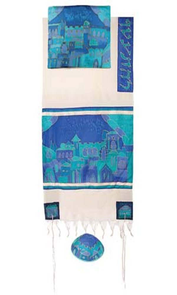 Jerusalem Gate in Blue Cotton and Silk Tallit Prayer Shawl Set - by Yair Emanuel - Size 21'' x 77''