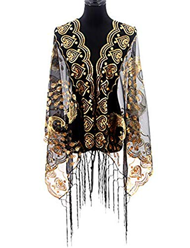 MissShorthair Women's 1920s Scarf Mesh Sequin Wedding Cape Evening Shawl Wrap With Peacock Print