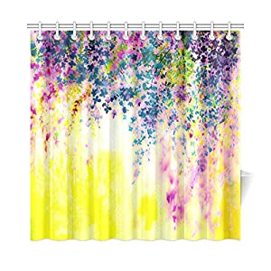 InterestPrint Purple Pink Yellow Floral Wisteria Flower Home Decor Abstract Watercolor Original Painting Polyester Fabric Shower Curtain Bathroom Sets With