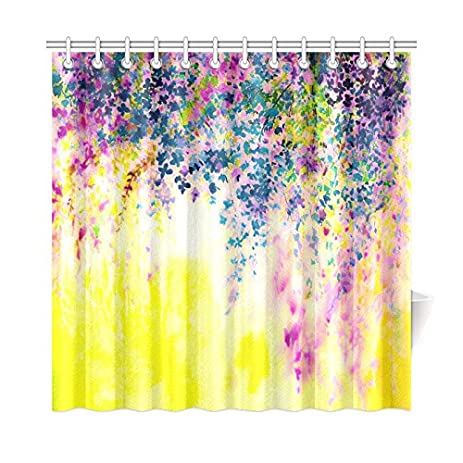 Charmant InterestPrint Purple Pink Yellow Floral Wisteria Flower Home Decor,  Abstract Watercolor Original Painting Polyester Fabric