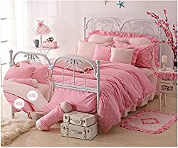 Joybuy Home Textile Princess Bedding .Comfortable, Soft, Sweet, Round Your Mind Princess Dream. Purple Pink Polka Dot Bedding Sets,rustic Girls Duvet Cover Set ,Queen Size,4pcs Comforter Not Included (pink)