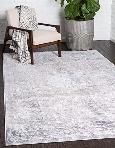 Unique Loom Aberdeen Collection Textured Traditional Vintage Tone-on-Tone Gray Area Rug 5 0 x 8 0