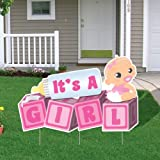 """""""It's a Girl!"""" Die Cut Baby Blocks, Baby Announcement Yard Sign (Light Skin Tone Baby)"""