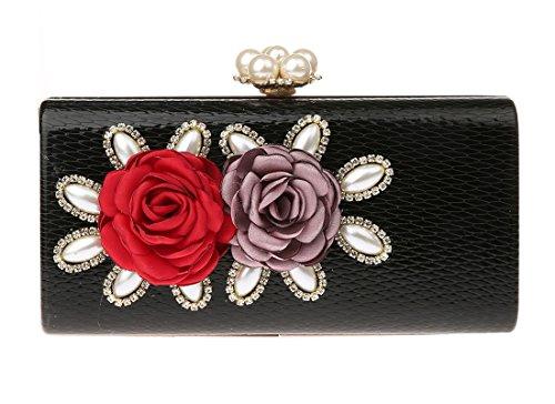 Ankoee Pochette Femme Mariage Soirée Sac Fleurs Pochette Sac de Soirée pour Ceremonie/Mariage/Parti/Prom/Boîte Noir