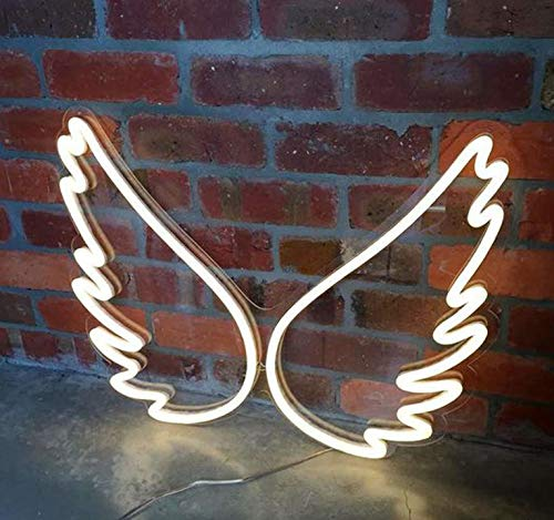 DSstyles LED USB Charging Neon Sign Tabletop Hanging Light for Decoration Wing White Light - Wings Neon