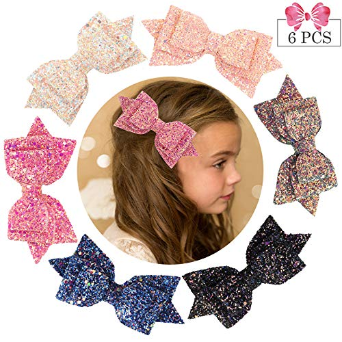 5 Inch Glitter Hair Bows Large Boutique Hair Clips 6pcs Large Sequins Hair Accessories for Baby Girls women Toddlers