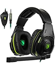 SADES SA938 Stereo Gaming Headset for PS4, PC, Xbox One Controller, Noise Isolation Over Ear Headphones with Mic, Bass Surround, Soft Memory Earmuffs for Laptop Mac Nintendo Switch Games