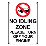 Weatherproof Plastic Vertical No Idling Zone Please Turn Off Your Engine Sign with English Text and Symbol