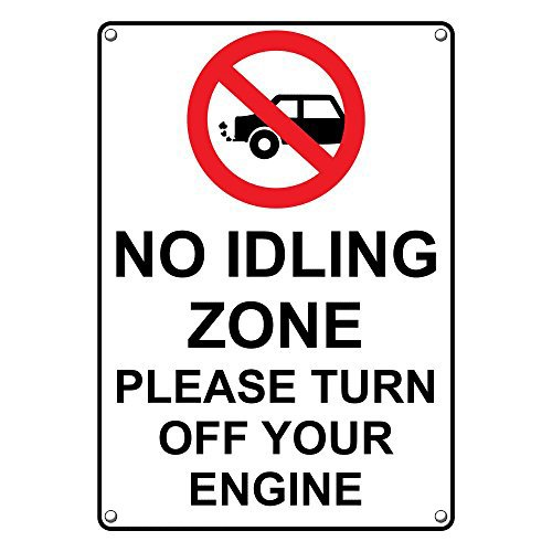 Weatherproof Plastic Vertical No Idling Zone Please Turn Off Your Engine Sign with English Text and Symbol by SignJoker