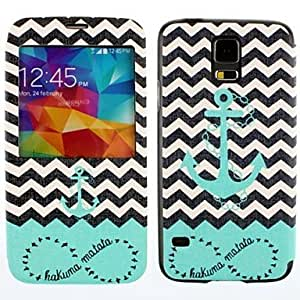 YULIN Doble Círculo Wild Geese The Waves Embarcaciones modelo del ancla de la PU Leather Case cuerpo completo para Samsung Galaxy i9600 S5