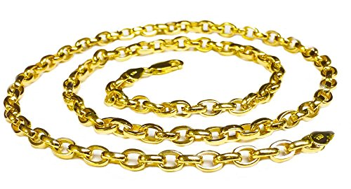 Gold Handmade Link Chain (14Kt Solid Yellow Gold Heavy Handmade Link Men'S Chain/Necklace 18