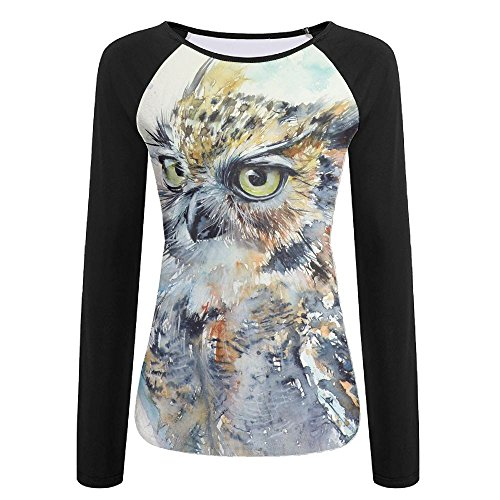 Owl Slim T-shirt (Mysterious Owl Watercolor Designs Women's Color Block Long Sleeve T-Shirts Crew-Neck Casual Slim Tops Athletic Fitted Tee)