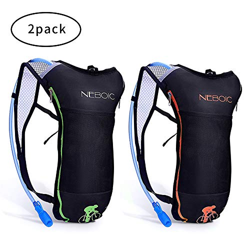 Neboic 2Pack Hydration Backpack Pack with 2L Hydration Bladder – Lightweight Water Backpack Keeps Water Cool up to 4 Hours with Big Storage for Kids Women Men Hiking Cycling Camping Music Festival