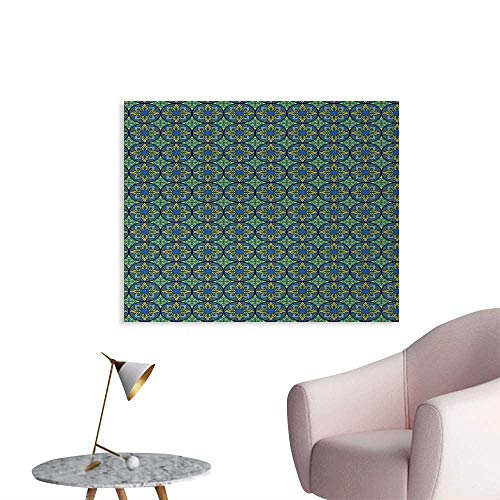 Tudouhoho Vintage Poster Paper Western Culture Inspired Artistic Mosaic Floral Tiles Pattern Photo Wall Paper Cobalt Blue Apple Green Teal W36 xL32