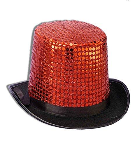 Forum Novelties Men's Sequin Novelty Top Hat, Red, One Size