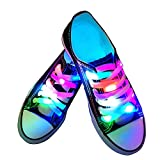 YUSHAN LED Light Up Shoelaces, 3 Lighting Modes Night Glowing Shoe Strings, Disco Flash Lighting Shoes Laces Best for Party Hip-hop Dancing Skating(Waterproof, Nylon, RGB Colorful)