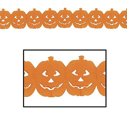Club Pack of 12 Halloween Jack-O-Lantern Decorative Party Garland 12'