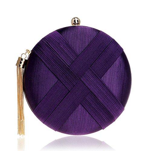 Bridal Handbag Bag Purple Ladies Evening Party Prom Silk Purse Tassel Shoulder For Women Gift Clutch Clubs Wedding Bag Circular HPw1WqnI