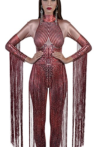 d2ed0ac11e6b Charismatico Red 3D Print Crystallised Bodycon Drag Queen Romper Catsuit  Jumpsuit with Arm Tassels Fringe one