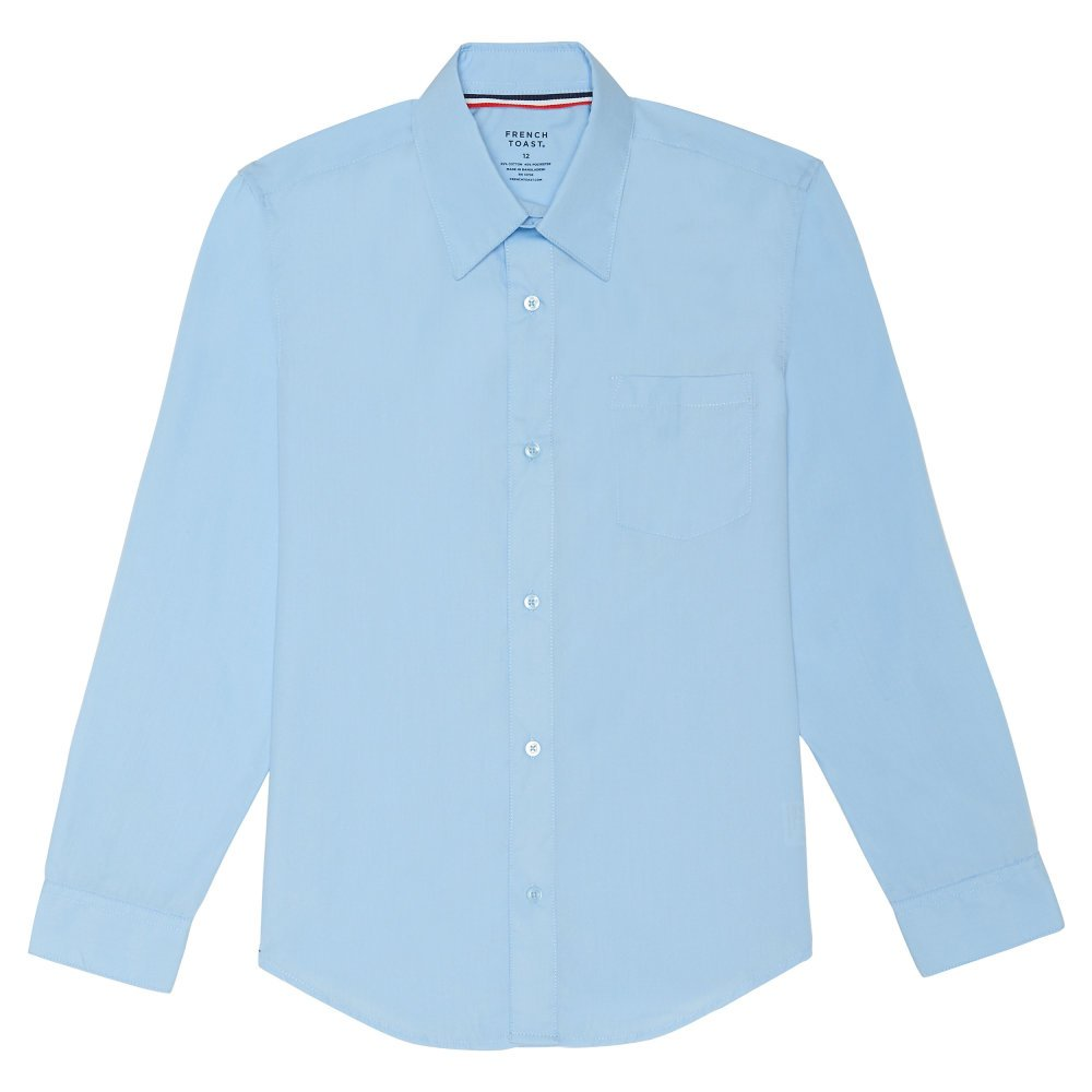 French Toast Men's Long Sleeve Classic Dress Shirt, Light Blue, Large