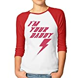 FOODE Women's I Am Your Daddy 3/4 Sleeve 100% Cotton Baseball Tee/T Shirts Red