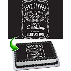 Jack Daniel's Edible Cake Topper Personalized Birthday 1/4 Sheet Decoration Custom Sheet Party Birthday Sugar Frosting Transfer Fondant Image ~ Best Quality Edible Image for cake