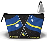 Kuswaq Nauru And Curacao Flags Compared Flag Twins Creative Large Capacity Trapezoidal Cosmetic Pouch Pencil Holder Organizer Portable Pouch