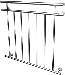 LZQ Ringhiera per balcone alla francese, in acciaio inox lucido, ringhiera per finestra con aste piene