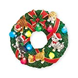 Collections Etc Holiday Cat Wreath Sculpted Lighted Wall Decoration