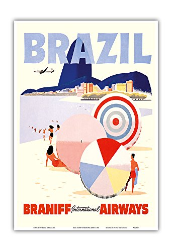 Pacifica Island Art Rio de Janeiro Brazil - Braniff International Airways - Vintage Airline Travel Poster c.1950s - Master Art Print - 13in x 19in