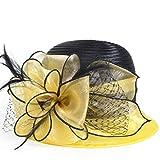 HISSHE Sweet Cute Cloche Oaks Church Dress Bowler Derby Wedding Hat Party S606-A, Yellow, Medium