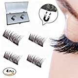 New Dual Magnetic Eyelashes, Ultra Thin Magnets, 3D Reusable Fiber (1 Pair 4 Pieces)