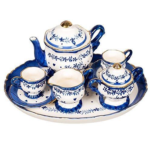 (Blue and White Floral Design White Porcelain Children's Tea Party Set)
