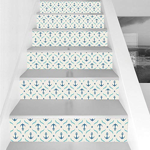 (Stair Stickers Wall Stickers,6 PCS Self-adhesive,Anchor,Yachting Theme Pattern with Abstract Ocean Waves and Blue Stars Artistic Decorative,Beige Blue Pale Blue,Stair Riser Decal for Living Room, Hall)