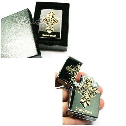 Cross Emblem Zippo Lighter - Zippo Tribal Cross Black Ice Lighter Made in USA /GENUINE and ORIGINAL PackingZippo Tribal Cross Black Ice Lighter Made in USA /GENUINE and ORIGINAL Packing