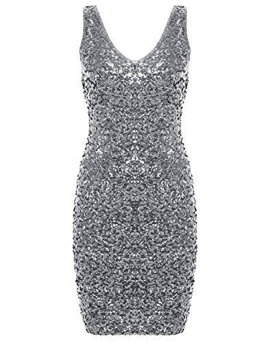 (PrettyGuide Women Sexy Deep V Neck Sequin Glitter Bodycon Stretchy Mini Party Dress Silver)