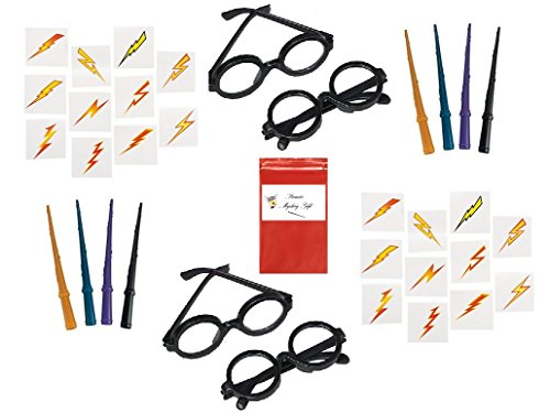 97 Piece Wizard Wands, Glasses & Lightening Bolt Tattoos Set For 12