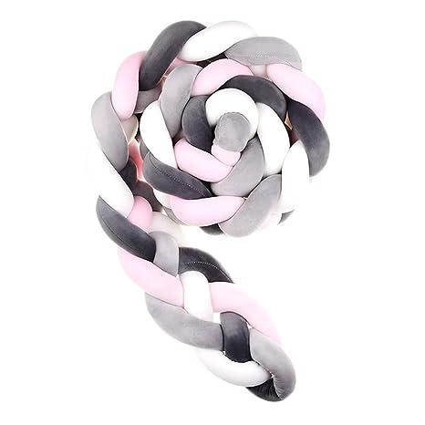 Wanguo Cuna Cojín Trenzado Almohada Bebé Cabeza Protector Nudo Parachoques Trenza Almohada Cojín para Cama De Bebé (Color : L-Pink+White+D-Gray+Gray, ...