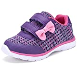D SEEK SC303 Toddler Fashion Sneakers Casual Strap Sport Shoes with Cute Bowknot PUR 9