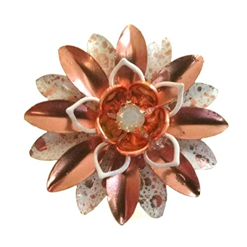 Copper Flower Brooch - Small Rose Gold Tone and White Enamel Flower Pin