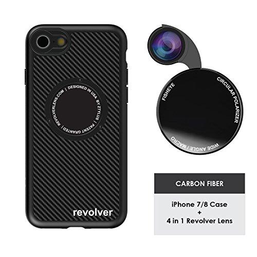 Ztylus Designer Revolver M Series Camera Kit: 4 in 1 Lens with Case for iPhone 7/8 - Fisheye Lens, Wide Angle Lens, Macro Lens, CPL (Carbon Fiber)